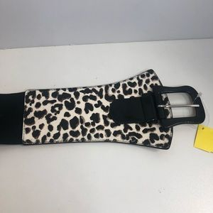 Leopard Print / Black Tie Stretch Belt -Medium